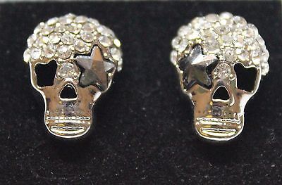 Womens Girls Ladies Bling Crystal Diamante Sparkly Fashion Pirate Skull Earrings