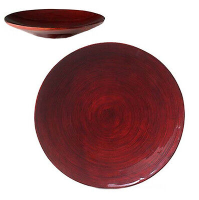 Spun Bamboo Plate - Decorative Deep Red Lacquer