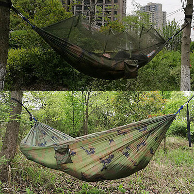 Portable Outdoor Travel Jungle Camouflage Military Hammock with Mosquito Net