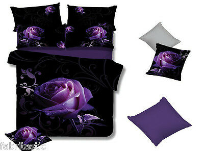 PURPLE ROSE Queen/King/Super King Size Bed Quilt/Doona/Duvet Cover/Sheet Set