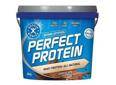 Aussie Bodies Perfect Protein Powder Shake 3Kg Chocolate All Natural Pure Whey