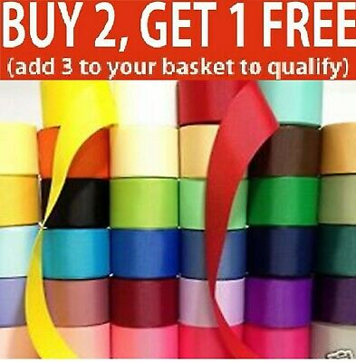 """Satin Ribbon 2"""" 50mm  Sold By Meters Many Colours Buy 4 Get 1 Free Good Quality"""