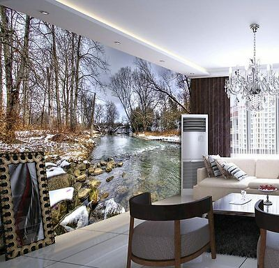 Snow River Stock Winter Wood Full Wall Mural Photo Wallpaper Print Home 3D Decal