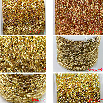 Lots Top Gold Plated Cable Open Link Metal Chain Finding Crafts 1M/2M/5M DIY