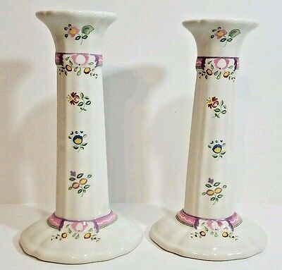 Laura Ashley Candlestick Alice Pattern 7in Pair Candle Holder Porcelain England
