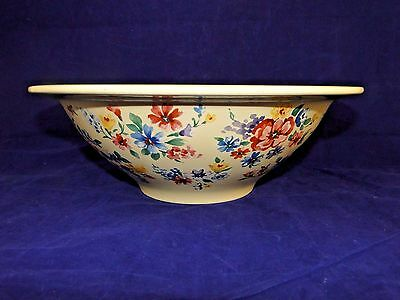 """Longaberger Pottery USA Spring Floral Blue Red Flowers 11.5"""" Footed Serving Bowl"""