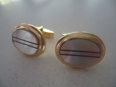 vintage art deco  mens cufflinks mother of pearl gold  oval