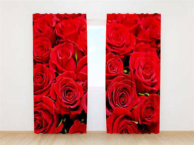 Red Roses Flowers 3D Curtain Blockout Photo Curtains Print Home Window Decor