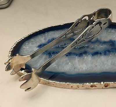 BEAUTIFUL American Pierced Pattern Solid 925 Sterling Silver Sugar Tongs -L345