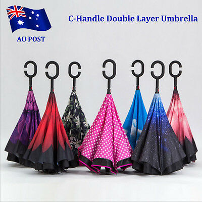 Modern Upside Down Reverse Umbrella C-Handle Double Layer Inside-Out 5 Color BO
