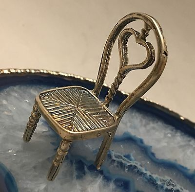 BEAUTIFUL Hand Crafted Sterling Silver Miniature Chair Hallmark - Dollhouse-L354