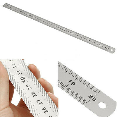 """50cm Double Side Scale Stainless Steel Straight Ruler Measuring Tool New 20"""""""