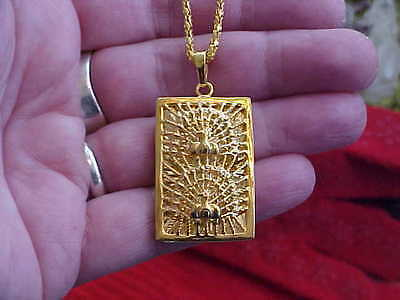 9K Gold Filled Peacock Necklace, Hallmarked, New, Removable Gold Plated Chain
