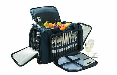 Avanti Navy 4 Person Picnic Trolley Set RRP $265.00 Basket Cooler Bag Cutlery