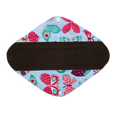 """Heavy Flow 12"""" CHARCOAL Bamboo Washable Mama Cloth Soft Menstrual Pad Butterfly"""
