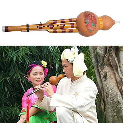 Chinese Hulusi Gourd Cucurbit Flute C key Yunnan Ethnic Instrument With Case