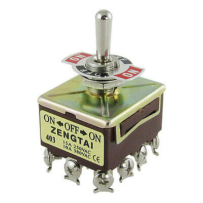 W6 ZENGTAI 10A/380VAC 15A/250VAC 3 Position 4PDT ON/OFF/ON 12 Pin Toggle Switch