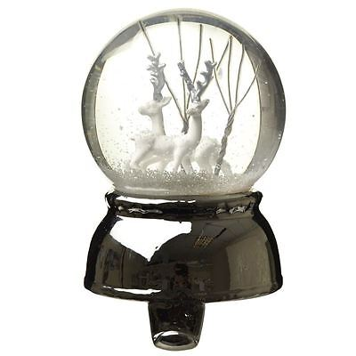 Christmas Snow Globe with Stocking Hook Silver Base with White Reindeers