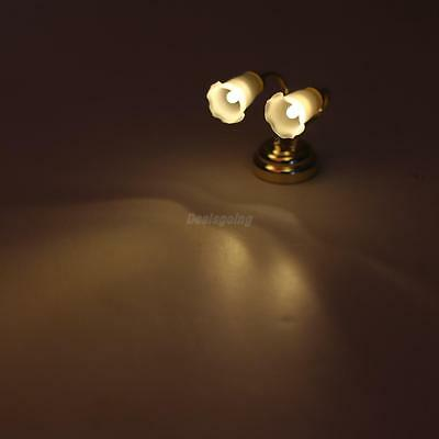 Dollhouse Miniatures 2 Head Wall Lamp LED W/Battery Floral Electric Light