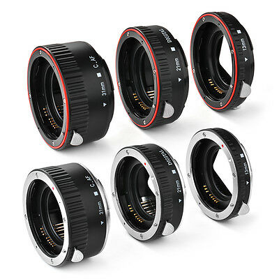 Macro Auto Focus Extension Tube Set Red/Silver for Canon EOS Extreme Close-Up
