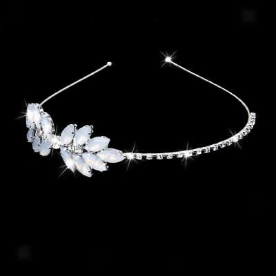 Bridal Bridesmaid Diamante Crystal Crown Flower Leaf Headband Tiara Wedding