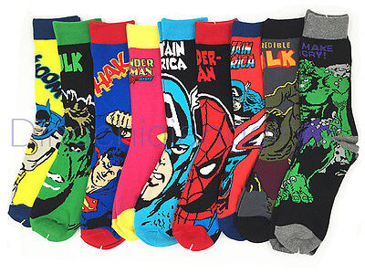 1 Pairs Mens Cotton Socks MARVEL COMICS Super Hero Casual Dress Knee Socks 6-11