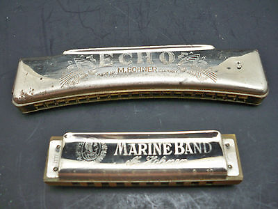 "M Hohner Harmonicas ""Echo"" & ""Marine Band"" ~ Very Good Condition"