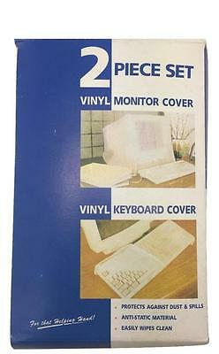 White Thick Vinyl Desktop Computer Monitor Cover & Keyboard Dust Cover Dustproof
