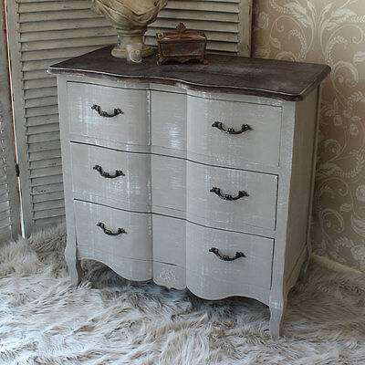 french grey vintage style chest drawers home bedroom furniture wood shabby chic