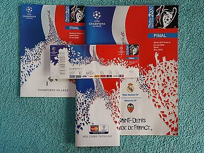 2000 - CHAMPIONS LEAGUE FINAL PROGRAMME + TICKET + MENU - REAL MADRID v VALENCIA