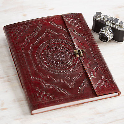 Indra Fair Trade Handmade XL Embossed Leather Photo Album Scrapbook 2nd Quality