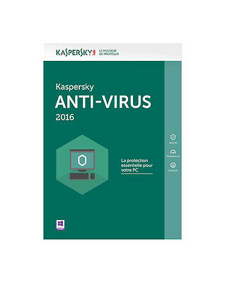 Kaspersky Anti-virus 2016 1pc 1an CD + Clé de licence