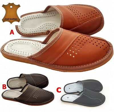 Men's Luxury 100% Real Leather Slippers Sandals Mules Handmade size 6.5 -12.5
