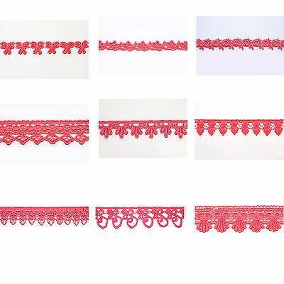 """5/8"""",3/4"""",1"""",1.25"""",1.75"""",2"""", 2.5"""", 3"""",3.25"""" Embroidered Coral Venice Lace Trim"""