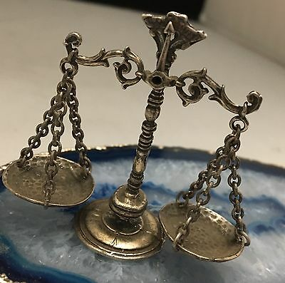 STUNNING Hand Crafted Sterling Silver Decorative Miniature Justice Scale - L366