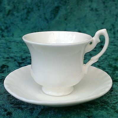 Vintage Miniature Bone China Cup Saucer White Fluted Tea Set