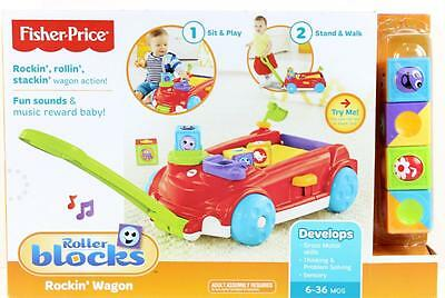 Fisher Price Red Rockin' Wagon With Roller Blocks Fun Sounds & Music 6-36 months