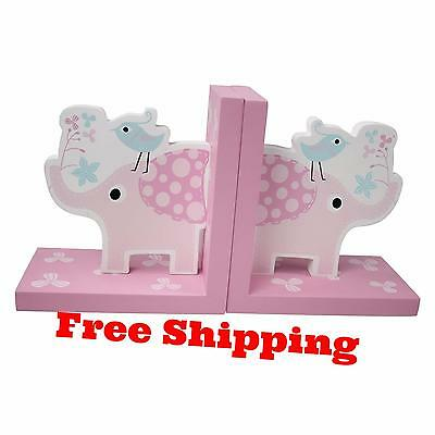 Elephant Theme Wooden Bookends for Kids Toddler Bedroom Nursery Decoration