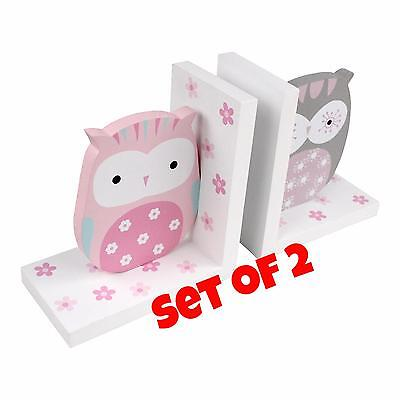 NEW Owl Bird Theme Wooden Bookends for Kids Toddler Bedroom Nursery Decoration