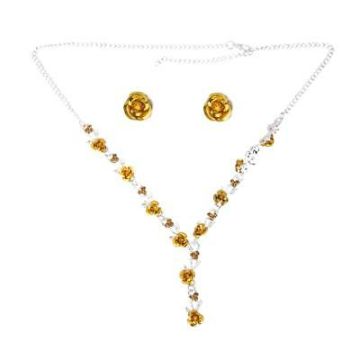 Silver Plated Necklace And Earrings Set Wedding Bridal Rhinestone Jewelery