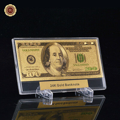 WR GIFT Colour US $100 Dollar Banknote 24k Gold Plated Bank Note + Display Frame