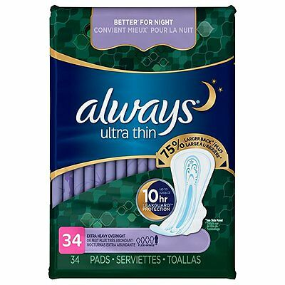 Always Ultra Thin Pads Extra Heavy Overnight with Flexi-Wings Unscented, 34 Coun