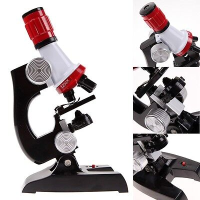 Microscope Kit Lab LED 100X-1200X Home School Educational Toy Gift For Kids