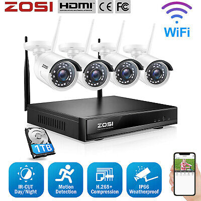ZOSI Wireless CCTV Security Camera System Outdoor 1080P 4CH HD NVR IP WiFi 2.0MP