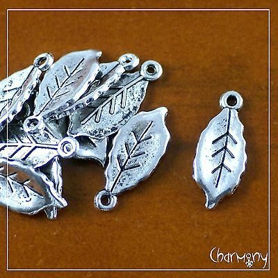 Tiny Leaf charms ~PACK of 10~ Tibetan silver nature nettle bead