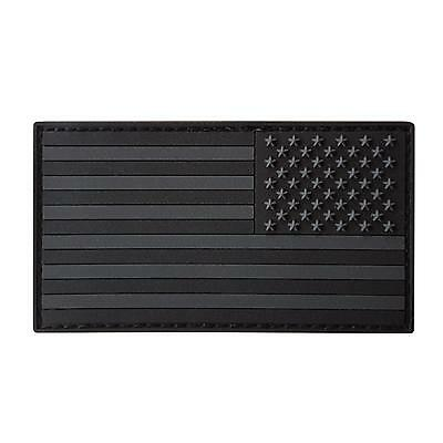 USA American reversed flag PVC rubber all black subdued ACU touch fastener patch