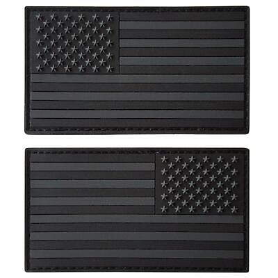 set of 2 american USA flag rubber PVC all black dark patches VELCRO® brand
