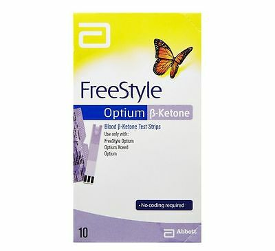 ~ Abbott Freestyle Optium Blood Ketone Free Style 1 Pack 10 Strips