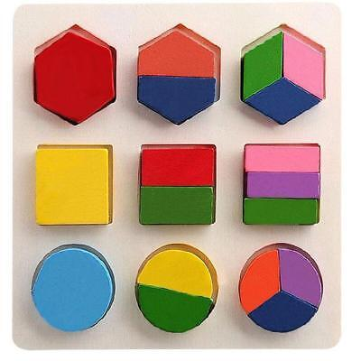 Baby Kids Montessori Early Educational Wooden Geometry Block Puzzle Toy #C