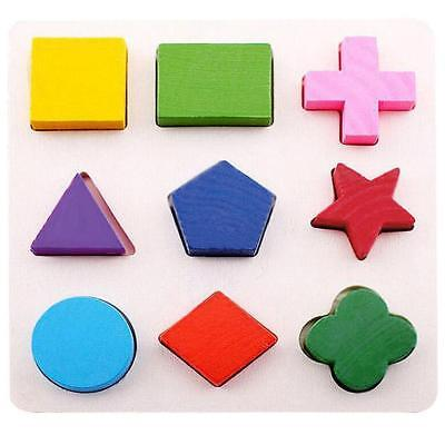 Baby Kids Montessori Early Educational Wooden Geometry Block Puzzle Toy #B